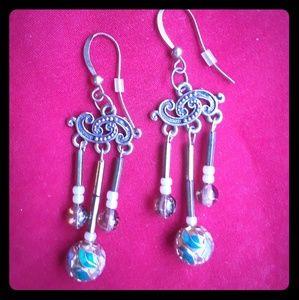 Jewelry - Handmade Enamel and Glass Bead Earrings